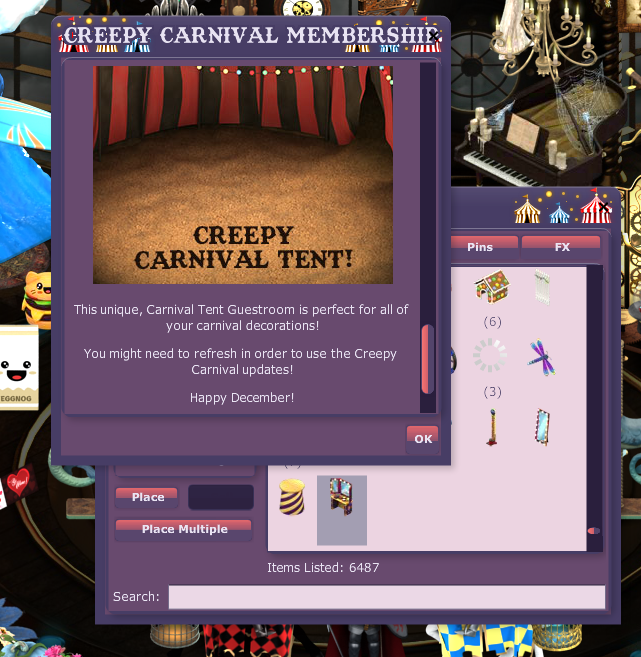 same pop up Creepy Carnival