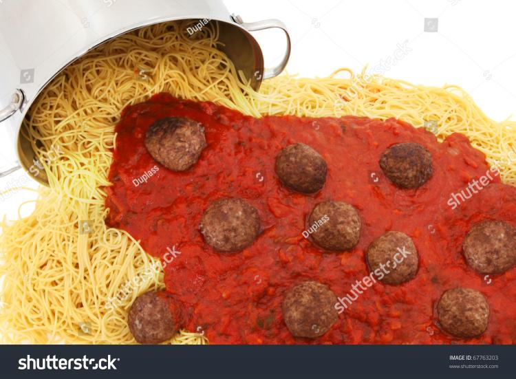 stock-photo-large-pot-of-spaghetti-noodles-with-meatballs-and-sauce-spilled-out-on-white-background-67763203