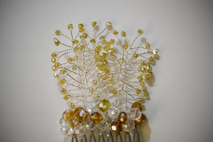 GOLDEN BEADS VINE HAIR COMB BY GIFT PRINCESS DESIGN 3