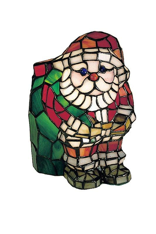 Santa+Claus+Tiffany+Glass+Accent+Table+Lamp
