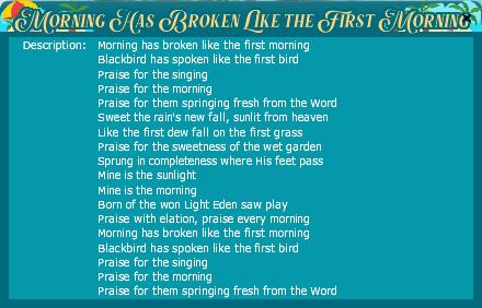 Morning Has Broken Like The First Morning (Poem)