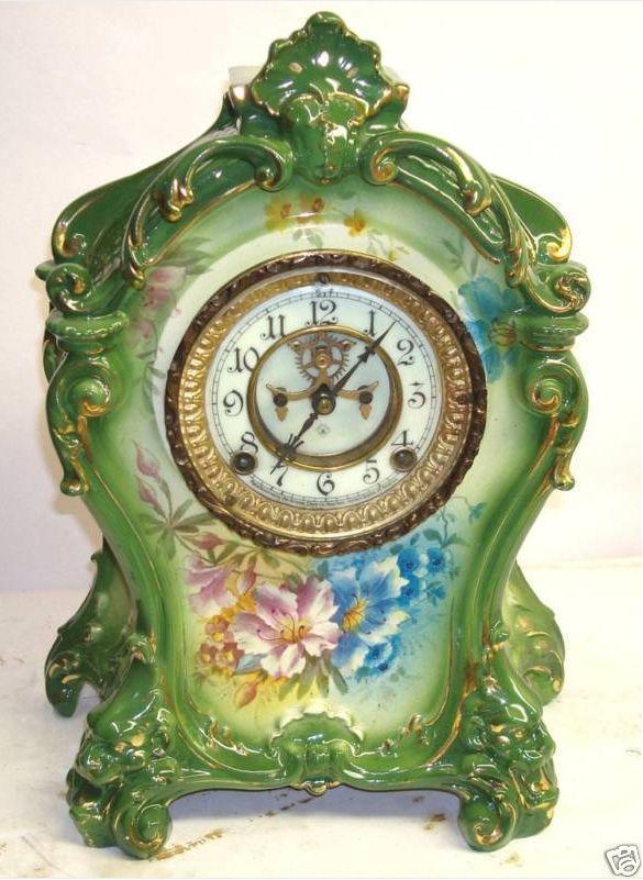 Ansonia Royal Bonn La Mine porcelain antique clock