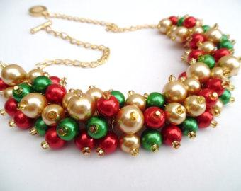 beaded-necklaces-christmas-necklace-pearl-beaded-necklace-holiday-jewelry-cluster-necklace-red-green-fatysir-