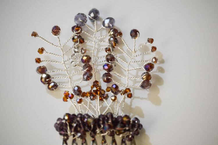 PLUM TALL BRANCH HAIR COMB BY GIFT PRINCESS DESIGN