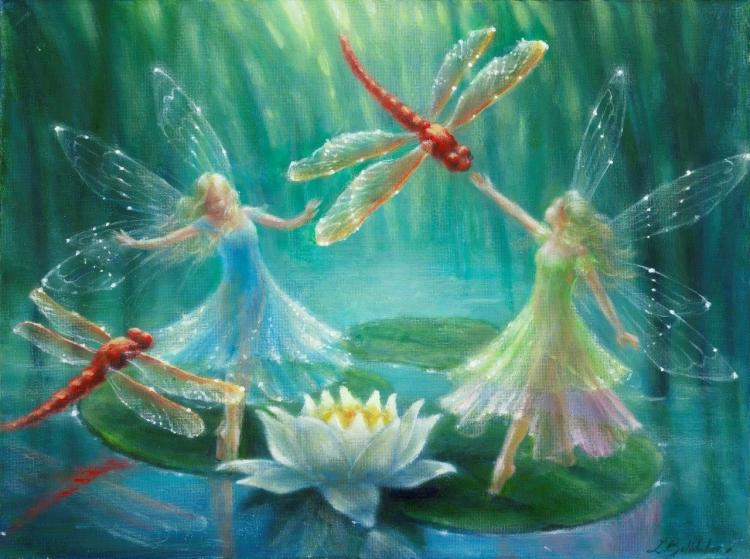 dragonfly fairy lily pond
