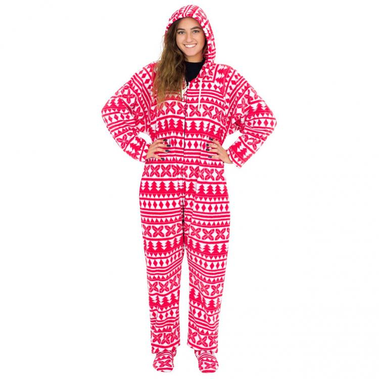 Red-and-White-Ugly-Christmas-Pajama-Suit-with-Hood